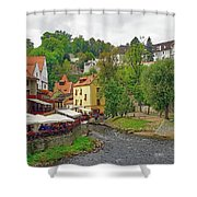 A Riverside Cafe Along The Vltava River In The Czech Republic Shower Curtain