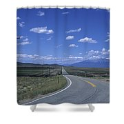 A Road Disappears Into The Distance Shower Curtain