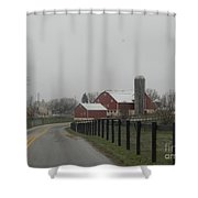 A Road Leading To The Homestead Shower Curtain