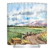 A Road To The Mountain Shower Curtain