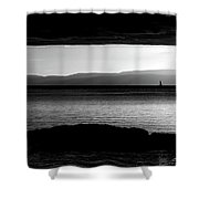 A Rock At Freycinet Bw Shower Curtain