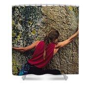 A Rock Climber On A Boulder Shower Curtain