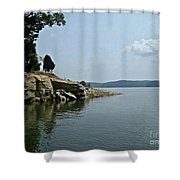 A Rocky Point - Monroe Lake Shower Curtain