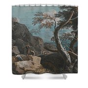 A Rocky Wooded Landscape With Three Peasants Shower Curtain