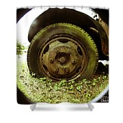 A Rolling Tire Gathers No Moss Shower Curtain