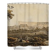 A Roman Landscape With The Colosseum And Figural Staffage Shower Curtain