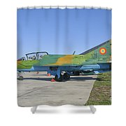 A Romanian Air Force Mig-21b Airplane Shower Curtain