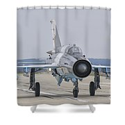 A Romanian Air Force Mig-21c Taxiing Shower Curtain