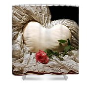 A Rose And A Heart Shower Curtain