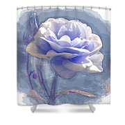 A Rose In Pastel Blue Shower Curtain