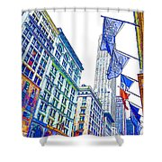 A Row Of Flags In The City Of New York 1 Shower Curtain