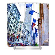 A Row Of Flags In The City Of New York 2 Shower Curtain