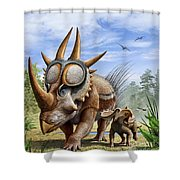 A Rubeosaurus And His Offspring Shower Curtain