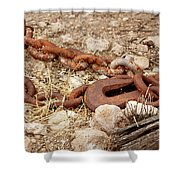 A Rusty Chain And Hook Shower Curtain