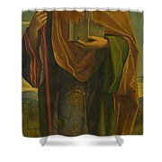A Saint With A Fortress And A Banner Shower Curtain