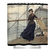 A Scottish Lady On A Boat Arriving In New York Henry Bacon Shower Curtain