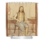 A Seated Indian Priest With English Furniture Shower Curtain