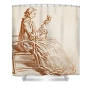 A Seated Woman Shower Curtain