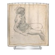 a Seated Youth for the Age of Gold , Pietro da Cortona Shower Curtain