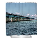 A Section Of The Original Seven Mile Bridge Shower Curtain