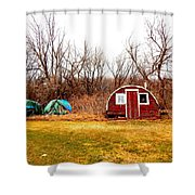 A Shack And Two Stacks Shower Curtain