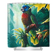 A Shady Spot - St. Lucia Parrot Shower Curtain