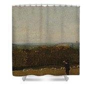 A Shepherd In A Landscape Shower Curtain
