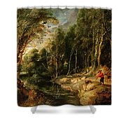 A Shepherd With His Flock In A Woody Landscape Shower Curtain