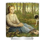 A Shepherdess And Her Flock Shower Curtain