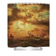 A Shipwreck By The Rocks Shower Curtain