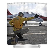 A Shooter Launches A T-45 Goshawk Shower Curtain