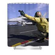 A Shooter Signals The Launch Of An Shower Curtain