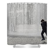 A Silhouette Of The Boy Against A Fountain Shower Curtain