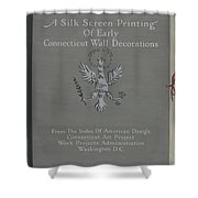 A Silk Screen Printing Of Early Connecticut Wall Decorations, Portfolio Cover Shower Curtain