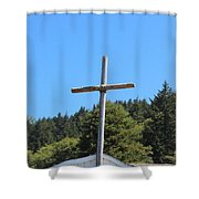A Simple Cross On Hwy 101 Shower Curtain