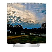 A Sky Like Turquoise And Mother Of Pearl Shower Curtain