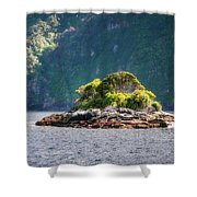A Small Rocky Island At Doubtful Sound Shower Curtain