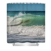 A Small Tube Wave In Atlantic Ocean Shower Curtain