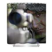 A Sniper Sights In On A Target Shower Curtain by Stocktrek Images