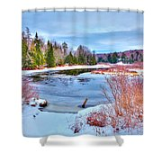 A Snowy Moose River Shower Curtain