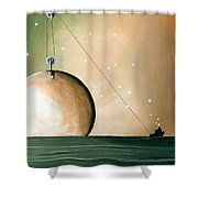 A Solar System Shower Curtain by Cindy Thornton
