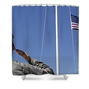 A Soldier Salutes The American Flag Shower Curtain