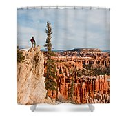 A Solitary Hiker Looks Shower Curtain
