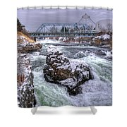 A Spokane Falls Winter Shower Curtain
