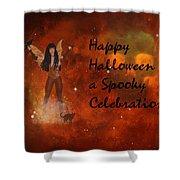 A Spooky, Space Halloween Card Shower Curtain