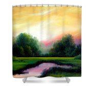 A Spring Evening Shower Curtain