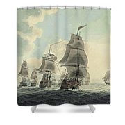 A Squadron Of The Royal Navy Running Down The Channel And An East Indiaman Preparing To Sail Shower Curtain