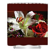 A Star Lily With  A Rose Shower Curtain