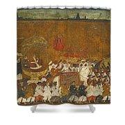 A State Procession Of Raja Tulsaji Shower Curtain