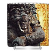 A Statue Of A Intricately Designed Holy Hindu Elephant Ganesha In A Sacred Temple In Bali, Indonesia Shower Curtain